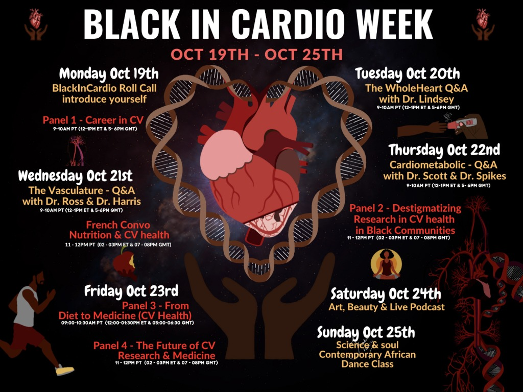 The Black in Cardio Week Schedule. Monday Oct 19 is roll call Tuesday Oct 20 is the whole heart Wednesday Oct 21 is the vasculature Thursday Oct 22 is cardio metabolic Friday Oct 23 has 2 panels. From Diet to Medicine and The future of CV research and medicine.  Saturday is art and beauty and a podcast Sunday is science and soul and a contemporary African dance class.