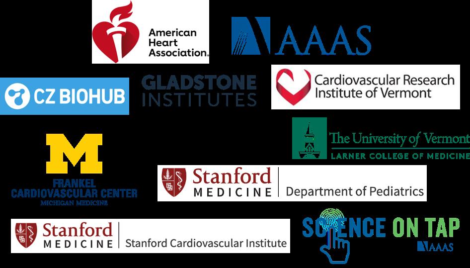 Sponsors for Black In Cardio AHA, AAAS, CZ Biohub, Gladstone Institutes, CVRI Vermont, UM Frankel CVC, Stanford Department of Pediatrics, U of Vermont Larner College of Medicine, Stanford Cardiovascular Institute, and AAAS Science on Tap
